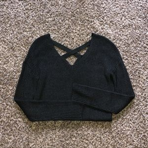 Grey sweater with back detail